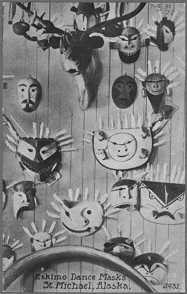 Post_card._Eskimo_dance_masks._St._Michael,_Alaska._-_NARA_-_297725