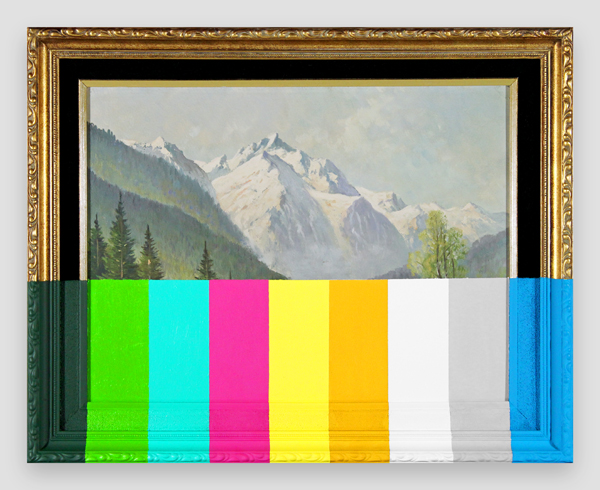 An-Alpine-Landscape-With-Color-Bars---paint-on-found-painting-and-frame---2014---15,75-x-19,75-x-1---009