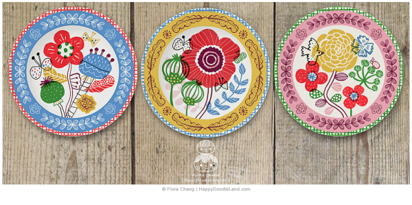 Floral+Plates+Collection+©+Flora+Chang+-+Happy+Doodle+Land