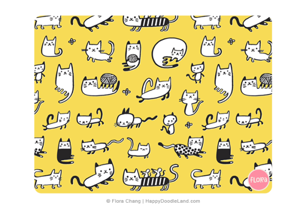 Kitties+Pattern+©+Flora+Chang+-+Happy+Doodle+Land